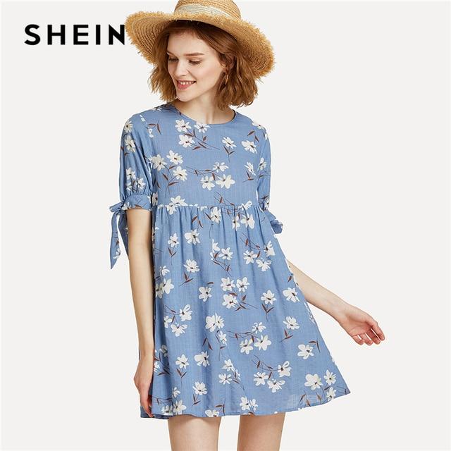 bf433efd88 SHEIN Blue Vacation Boho Bohemian Beach Floral Print Round Neck Short Sleeve  High Waist Short Dress Summer Women Cool Dresses