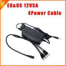 Free Shipping EU & US Cord CCTV Power Supply Cable & CCTV Camera 12V 5A 3A 1 Split 4 Power Adapter for Security System