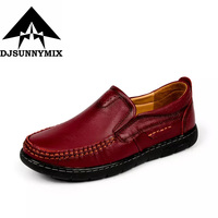 DJSUNNYMIX Brand Woman Handmade Shoes 100 Genuine Leather Shoes Casual Shoes Soft Cowhide Female Flats