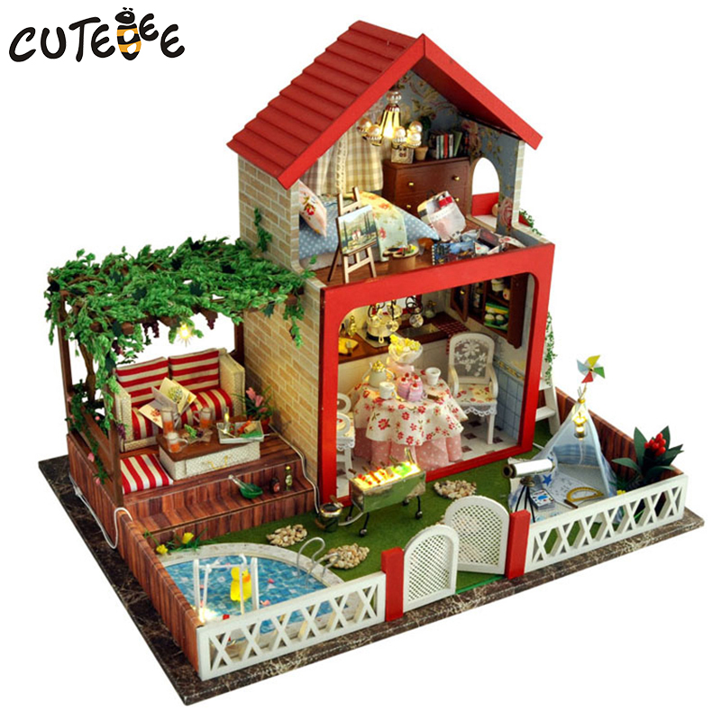 CUTEBEE Doll House Miniature DIY Dollhouse With Furnitures Wooden House  Toys For Children Birthday Gift midsummer nights TB5 cutebee doll house miniature diy dollhouse with furnitures wooden house toys for children birthday gift hordic holiday a030