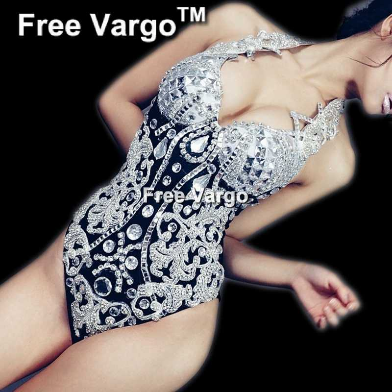 Sparkly Barque Rhinestone Bodysuit Drag Queen Costumes Crystal Jumpsuit  Performance Stage Show Girl Singer Party Wear 4449c2b847cc