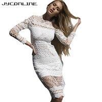 JYConline White Lace Dress Women Autumn Winter Hollow Out Crochet Sexy Dress Long Sleeve Vintage Evening
