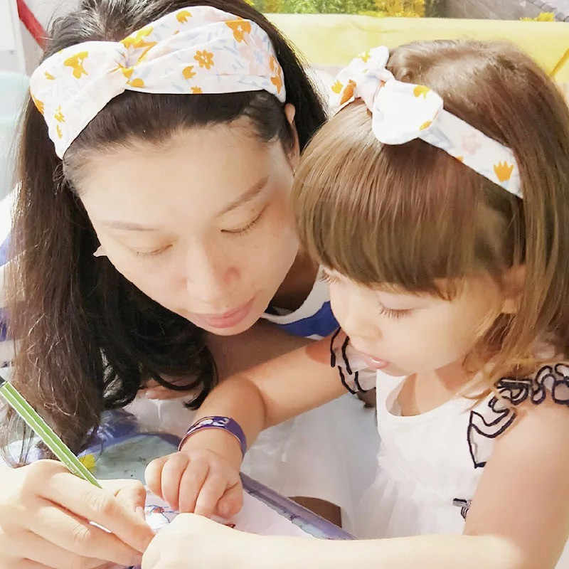 MIXIU 2pcs אמא ותינוק סרטי ראש אוזני ארנב שיער אלסטי להקות קשת הדפסת Hairbands הורה-ילד שיער אבזרים ילדי מתנות