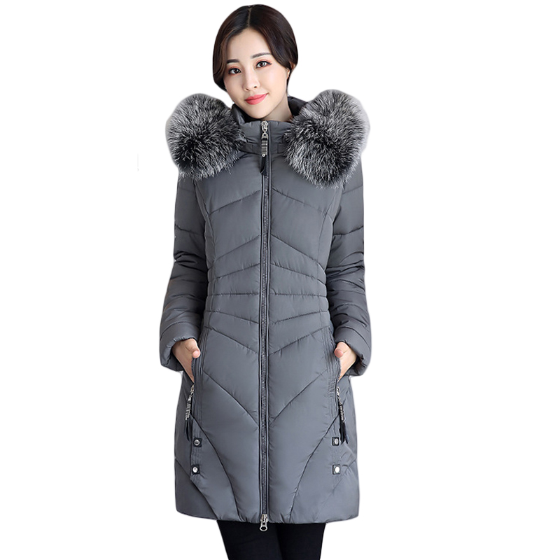 2017 New Winter Jacket Women Long Slim Large Fur Hooded Women Down Cotton Jacket Thick Female Wadded Jacket Plus Size 3XL CM1675 2017 new winter jacket women long slim large fur collar hooded down cotton parkas thick female wadded coat plus size 4xl cm1373