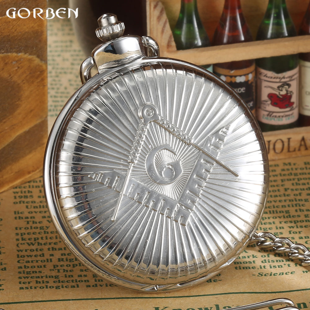 Luxury Silver Free-Mason Steampunk Design 2016 GORBEN Hot Masonic Freemason Freemasonry Pocket Watch Quartz Watch Gift hot theme masonic freemason freemasonry g pocket watch men gift watch free shipping p1198