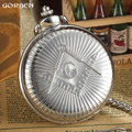 Luxury Silver Free-Mason Steampunk Design 2016 GORBEN Hot Masonic Freemason Freemasonry Pocket Watch Quartz Watch Gift
