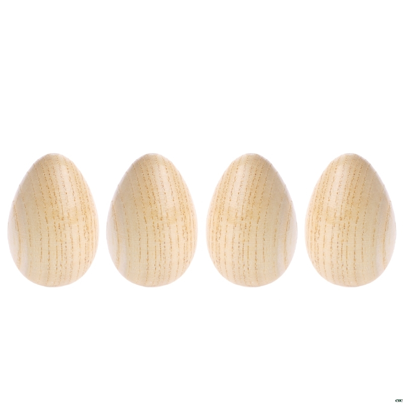 4Pcs Wooden Percussion Musical Egg Maracas Shakers Kids Educational Toys Fun Gifts