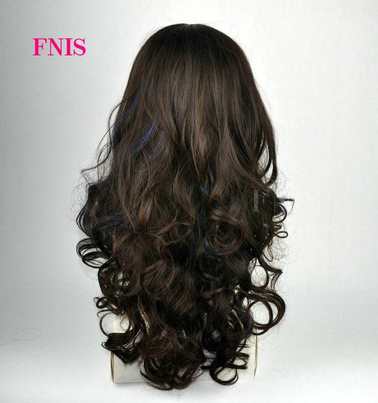 Fenis Branded Women Fashion Dark Brown Hair Highlights Blue Curly