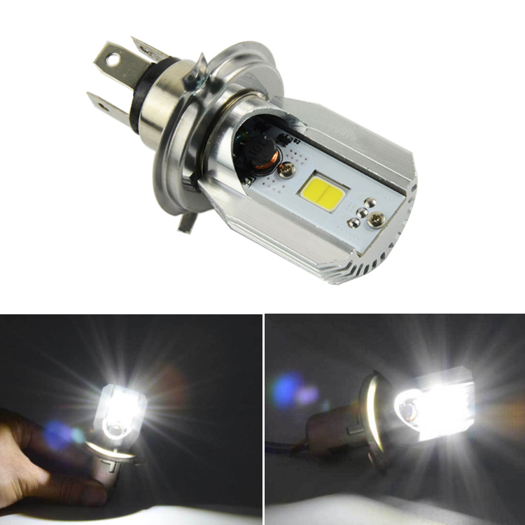 1Pcs H4 Motorcycle 6500K LED Hi/Lo Beam Headlight Front Light Bulb Lamp For Honda Yamaha Harley