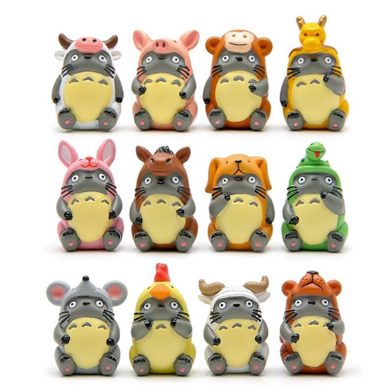 Totoro Chinese Zodiac Miniature Figurine Animal Model Home Decoration Fairy Garden  Statue Resin Craft Toy Ornaments TNJ100