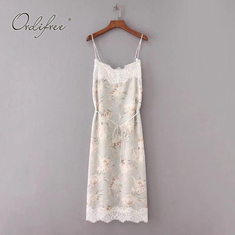 bcb10a774e383b8 Ordifree/2019 летнее женское кружевное шелковое платье на бретельках с  цветочным принтом, кружевное вязаное