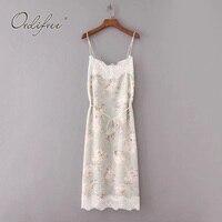 Ordifree 2019 Summer Women Lace Silk Dress Spaghetti Strap Floral Print Lace Crochet Satin Long Dress Beach Dress