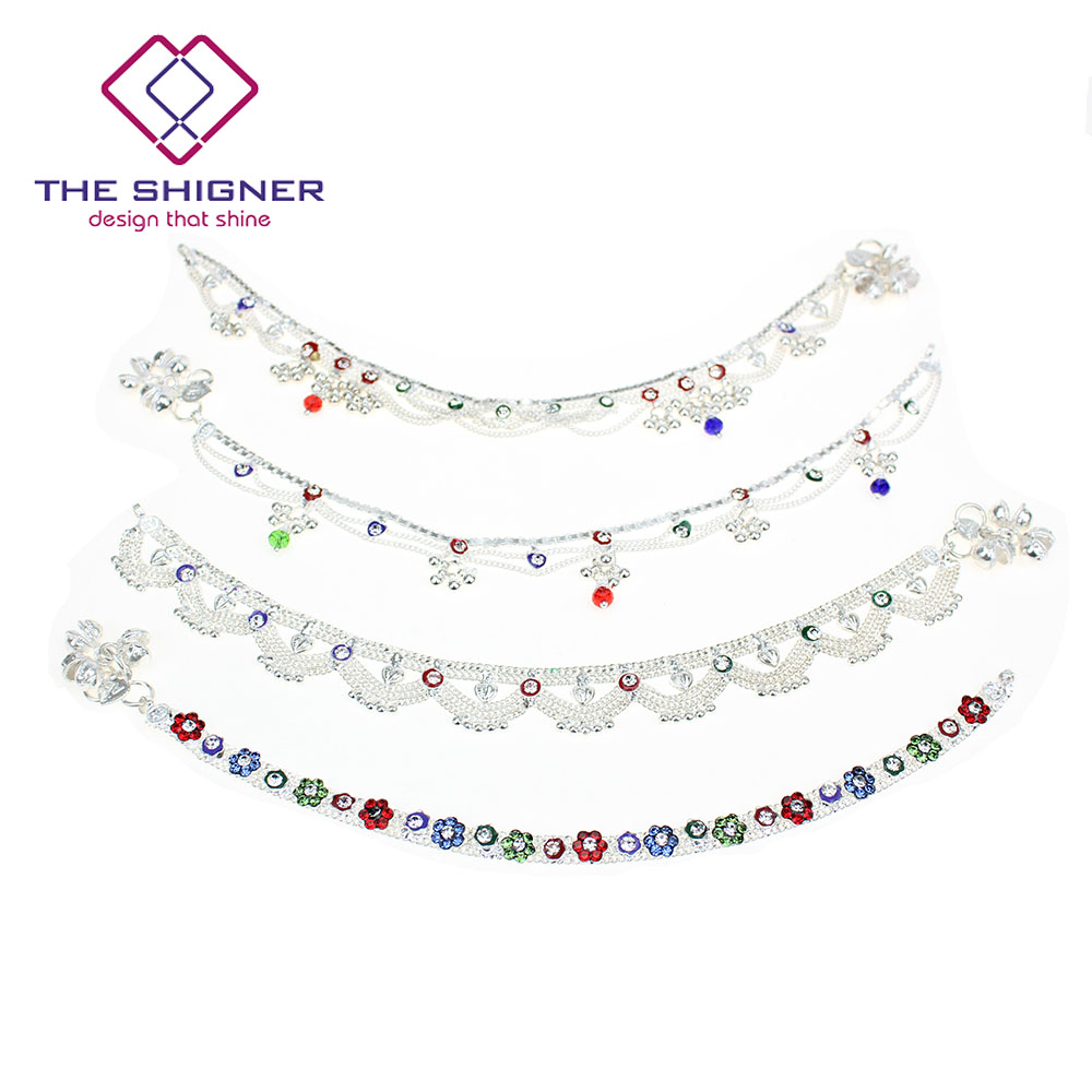 ff7fcb4688c THE SHIGNER Indian Pakistani Silver Tone Payal Anklet Pair with Colorful  Stone Loud JINGLING Bells Belly Dance Ghungroo Anklet-in Anklets from  Jewelry ...