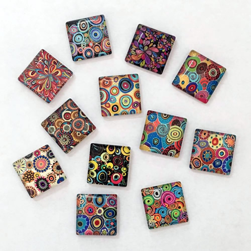 20mm 25mm Random Mixed Square Flowers Glass Cabochon Flatback Photo Base DIY Jewelry Making Accessory By Pair 10pcs K02962