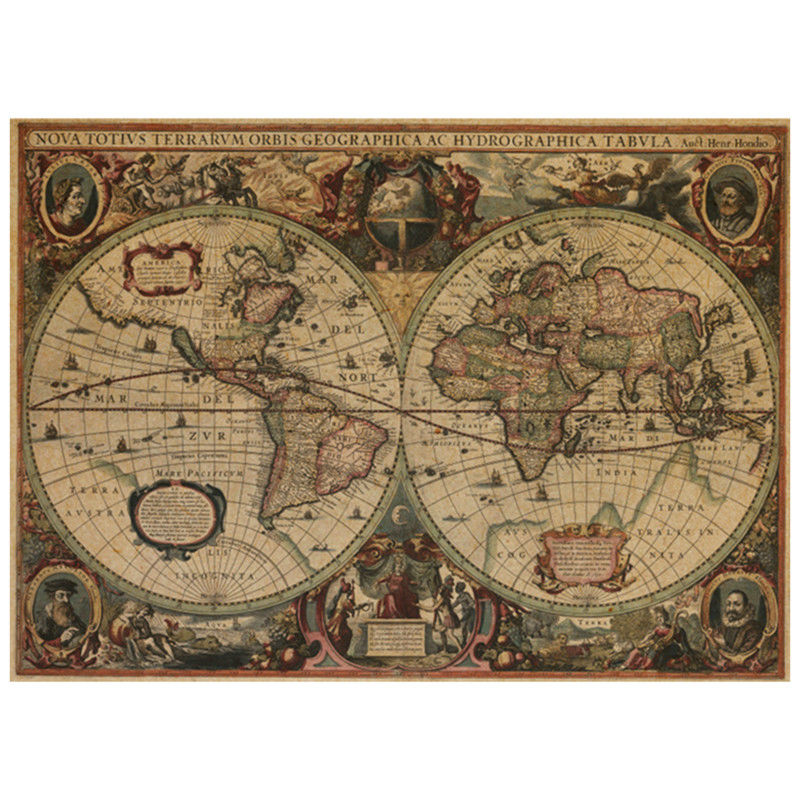 7252 cm navigation world map vintage kraft poster navigators portrait wall sticker home decoration living room retro wallpaper in wall stickers from home