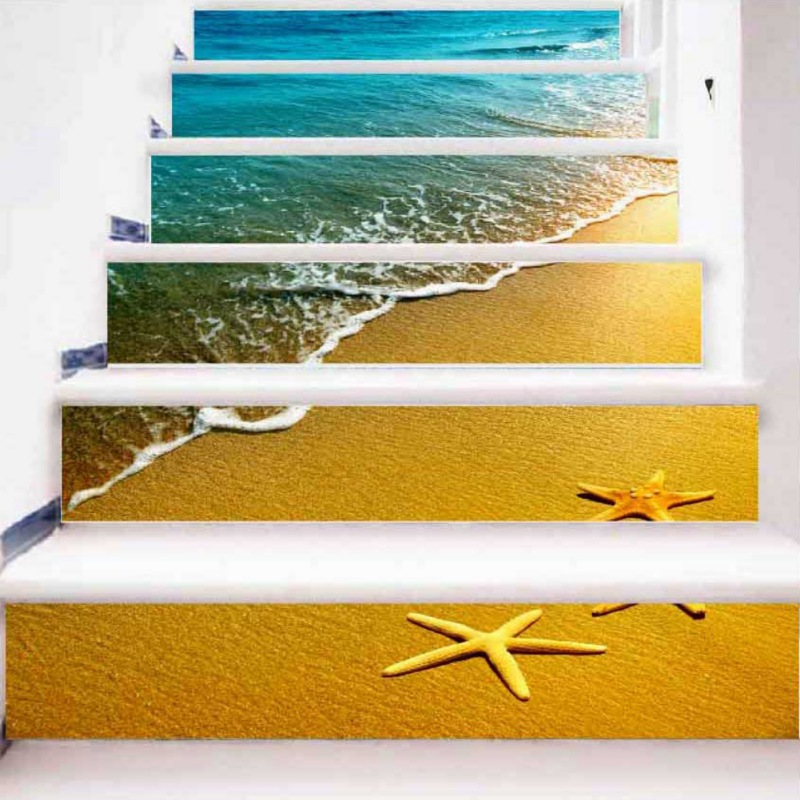 Scenery Stairs Sticker Sand Beach Pattern Wall Decal Mural Wallpaper ...