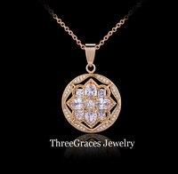 ThreeGraces Hochzeit Brautschmuck Gold Farbe Weiß Zirkonia Pflastern Kristall Nette Blume Halsketten Anhänger Für Bräute PN021