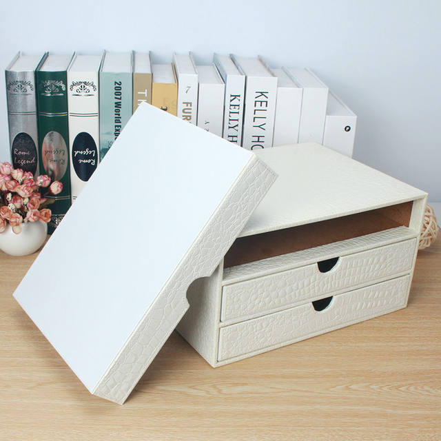 office 3-drawer wooden leather desk a4 file cabinet drawer box table organizer document holder rack tray crocodile white 217E & Online Shop office 3-drawer wooden leather desk a4 file cabinet ...