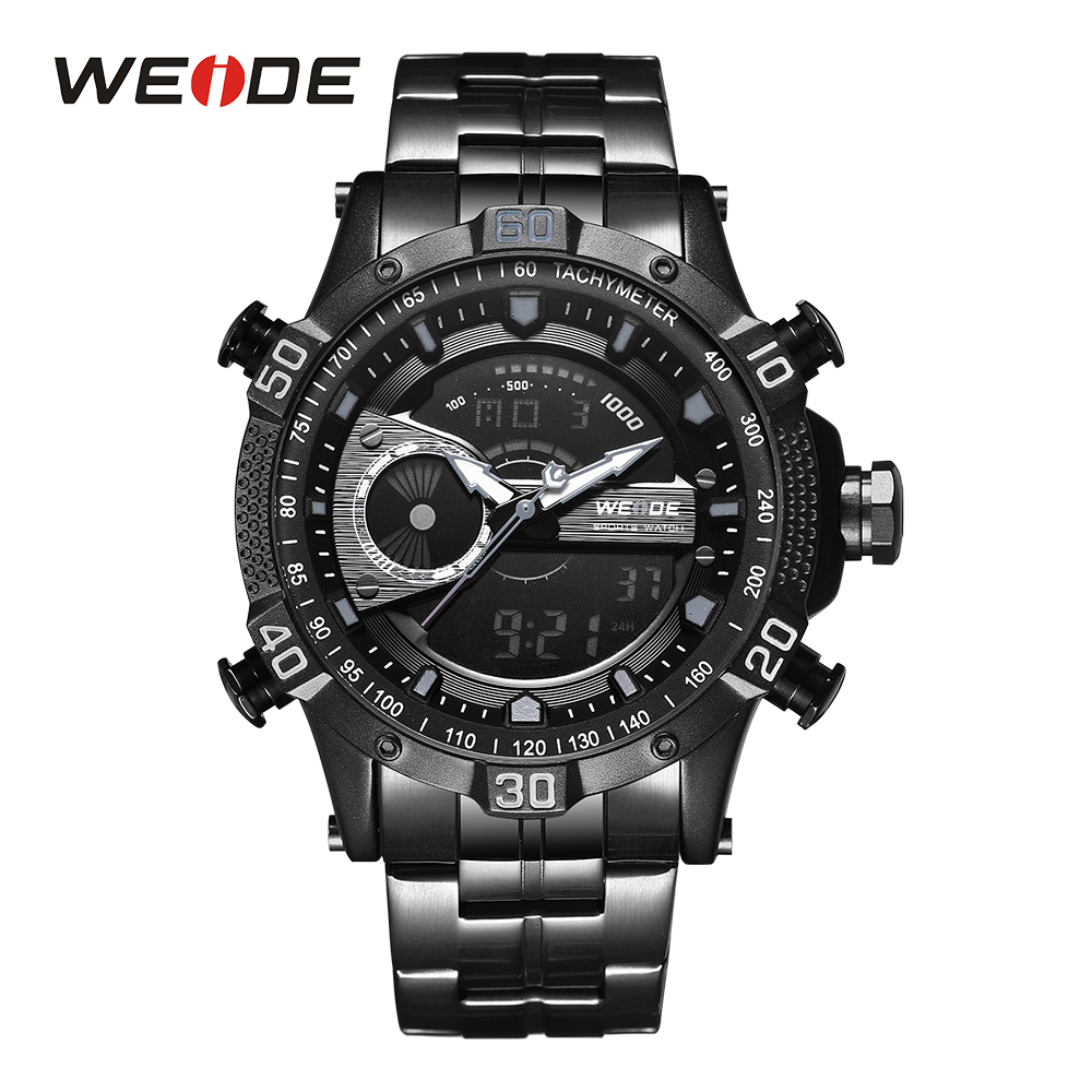 WEIDE Men Watch Black Sports Digital Stopwatch Wrist Watches Male Clock Date Quartz Stainless steel Band Alarm Day Analog Band weide men black running outdoor date day repeater back light stopwatch sports quartz watch alarm clock strap military wristwatch