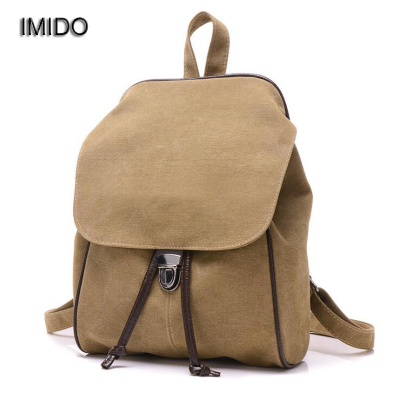 IMIDO Best Canvas Korean women backpack teenagers School bags for girls bagpack small shoulder backpacks mochila