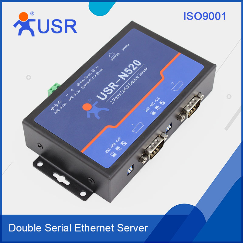 USR-N520 Industrial Double Serial Device RS232/RS485/RS422 To Ethernet Server Converters With modbus/DHCP q18040 usriot usr n520 serial to ethernet server tcp ip converter double serial device rs232 rs485 rs422 multi host polling