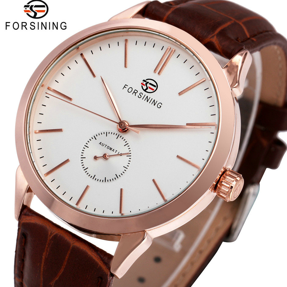 FORSINING Business Concise Men Watches 2018 Top Brand Luxury Leather Strap Automatic Mechanical Movement relogio masculino 2015 forsining relogio pmw342