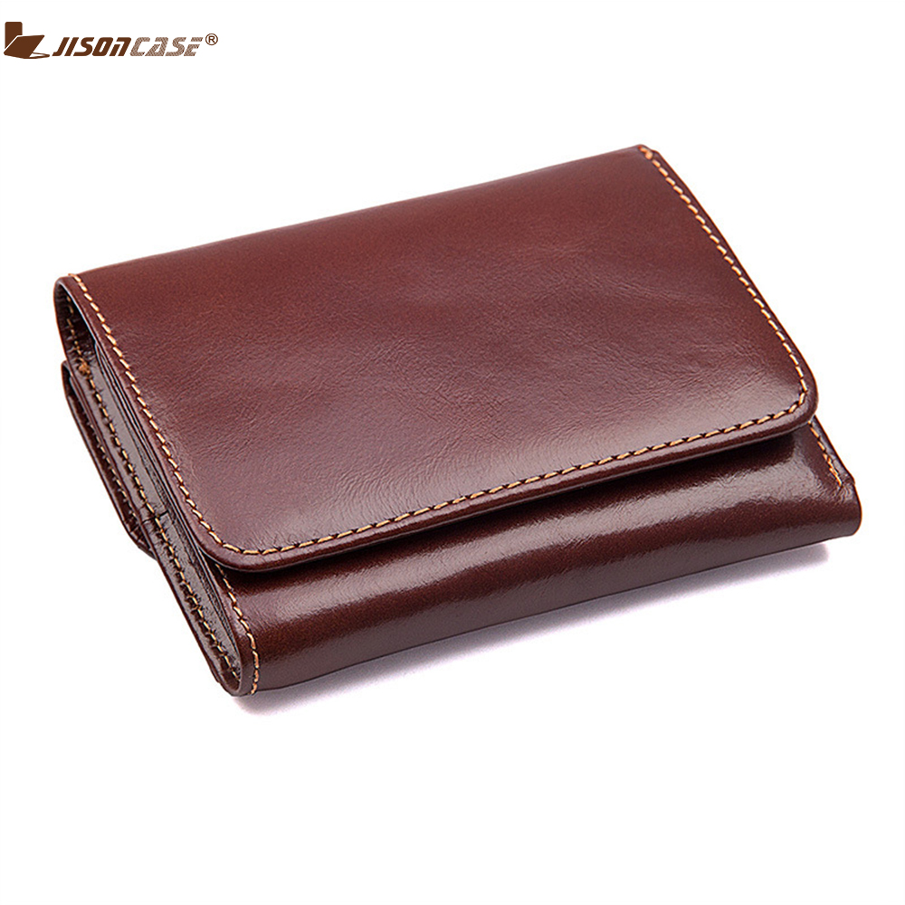 Jisoncase Woman Vertical Wallet Genuine Leather Short RFID Card Holder Casual Wallets With ID Window Coin Clutch Bag Purse