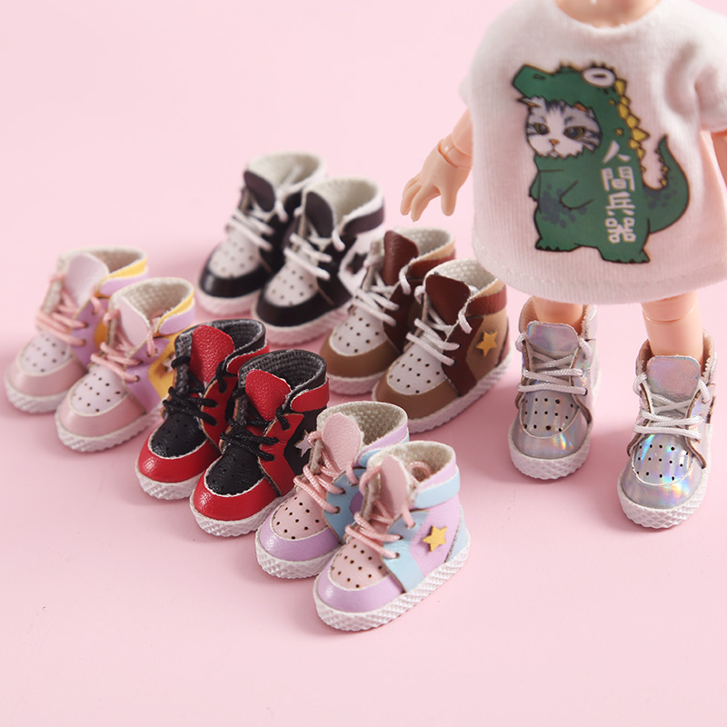 1 Pair Cute OB11 Dolls Shoes Star Sport Shoes Laser Silver Sneakers For Obitsu11 1/12 Bjd Dolls Accessory Sneakers For Dolls