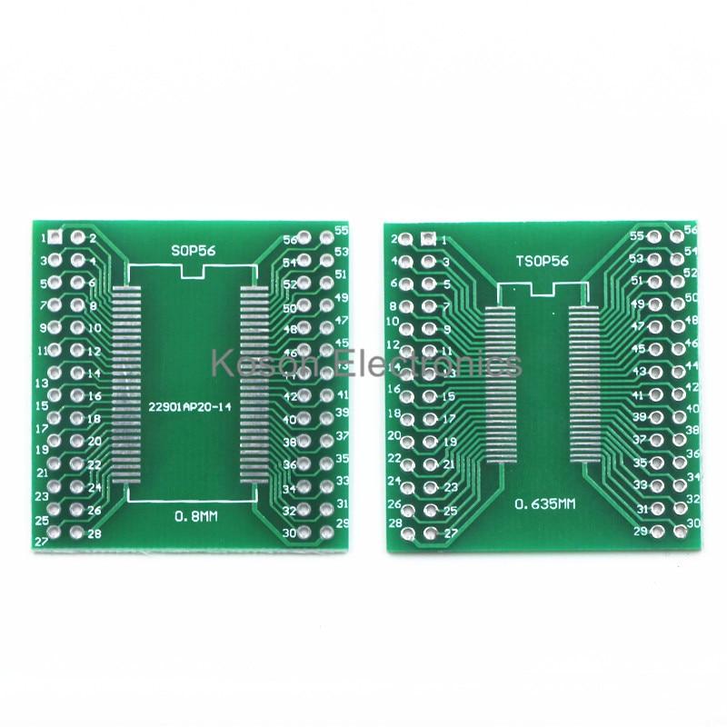 5PCS Pinboard TSSOP56 TSOP56 SOP56 To DIP56 56pin SDRAM 0.635mm 0.8mm IC Adapter Socket Adapter Plate PCB