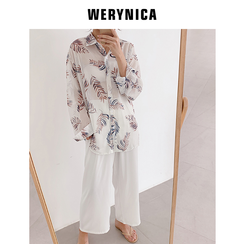 WERYNICA Women Vintage Geometric Pattern Blouses Long Sleeve Turn Down Collar Pleated Shirts Female Basual Wear Chic Loose Tops