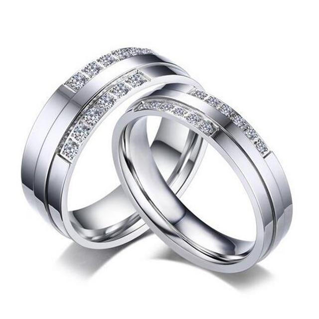 Лидер продаж серебро Цвет кольцо Альянс кольцо для Для женщин и Для мужчин  качество Нержавеющая сталь 6a4378cec47