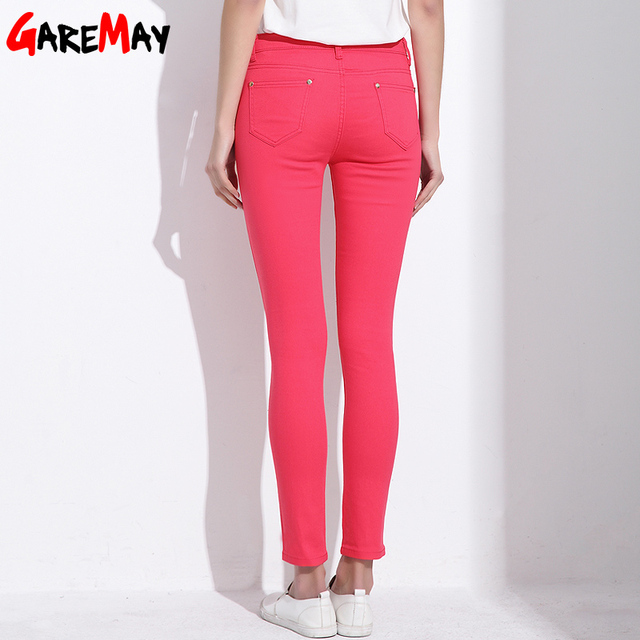 GAREMAY Women's Candy Pants Pencil Trousers 2018 Spring Fall Khaki Stretch Pants For Women Slim Ladies Jean Trousers Female 1010 1