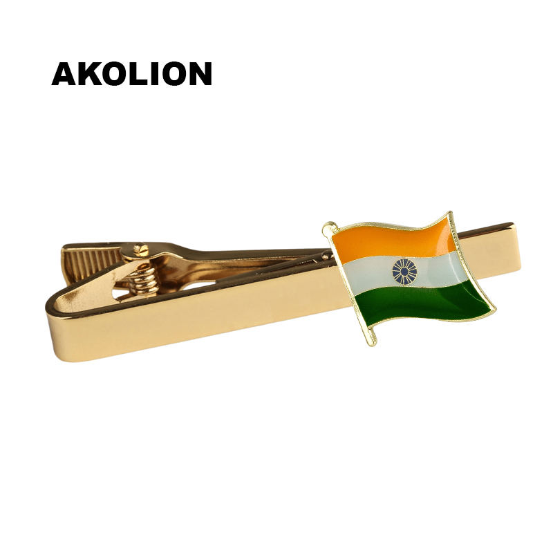 Classic Metal Tie Clip India Nation Flag Tie Bar Gold Tie Pin For Formal Dress Shirt Ceremony Tie Clamp 100pcs TC-0207