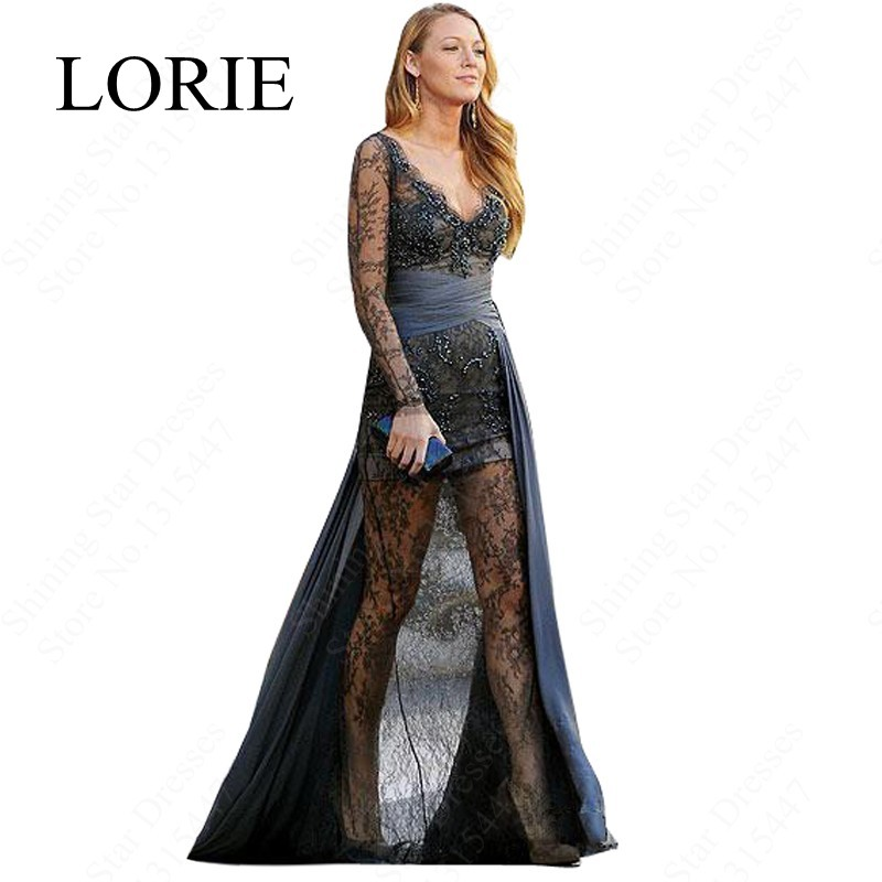 Blake Lively Grey Lace Long Sleeve Evening Dresses 2016 Special ...