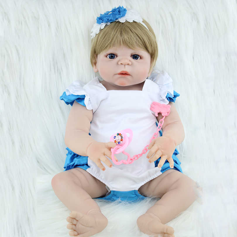 55cm Full Body Silicone Reborn Baby Doll Toy 22inch Newborn Princess Toddler Babies Alive Victoria Doll Cute Girl Bonecas 55cm full silicone reborn baby doll toy real touch newborn princess toddler babies alive bebe doll with pacifier girl bonecas