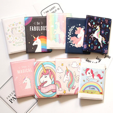 Cute Unicorn Girls Travel Abroad Passport Protection Set Waterproof  Passport Holder Card Wallet