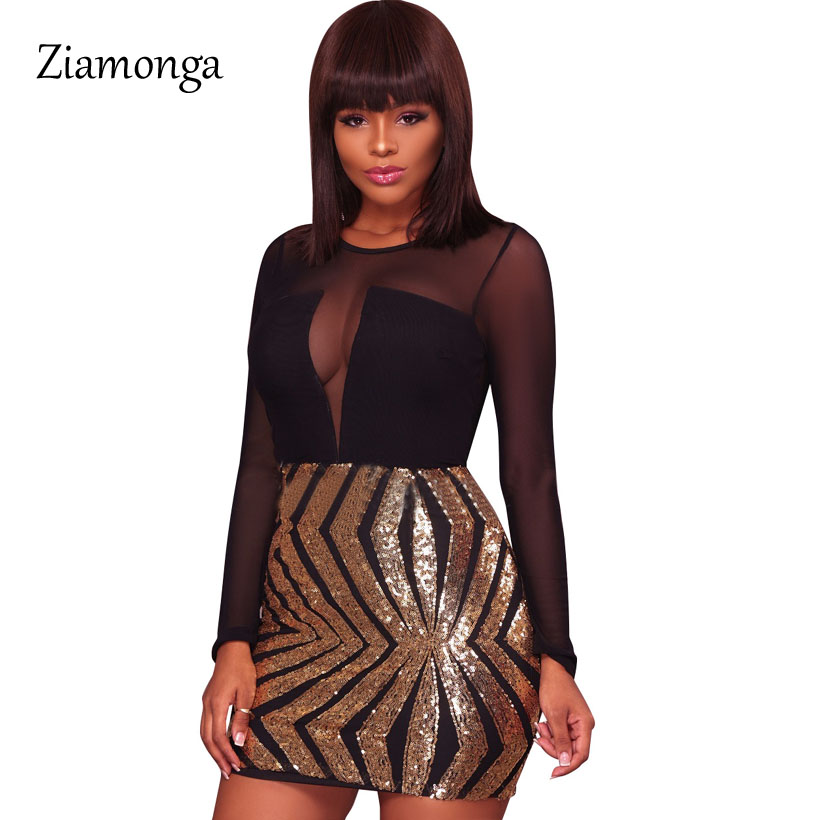 See Through Mesh Long Sleeve Black Gold Sequin Dress Bodycon Slim ...