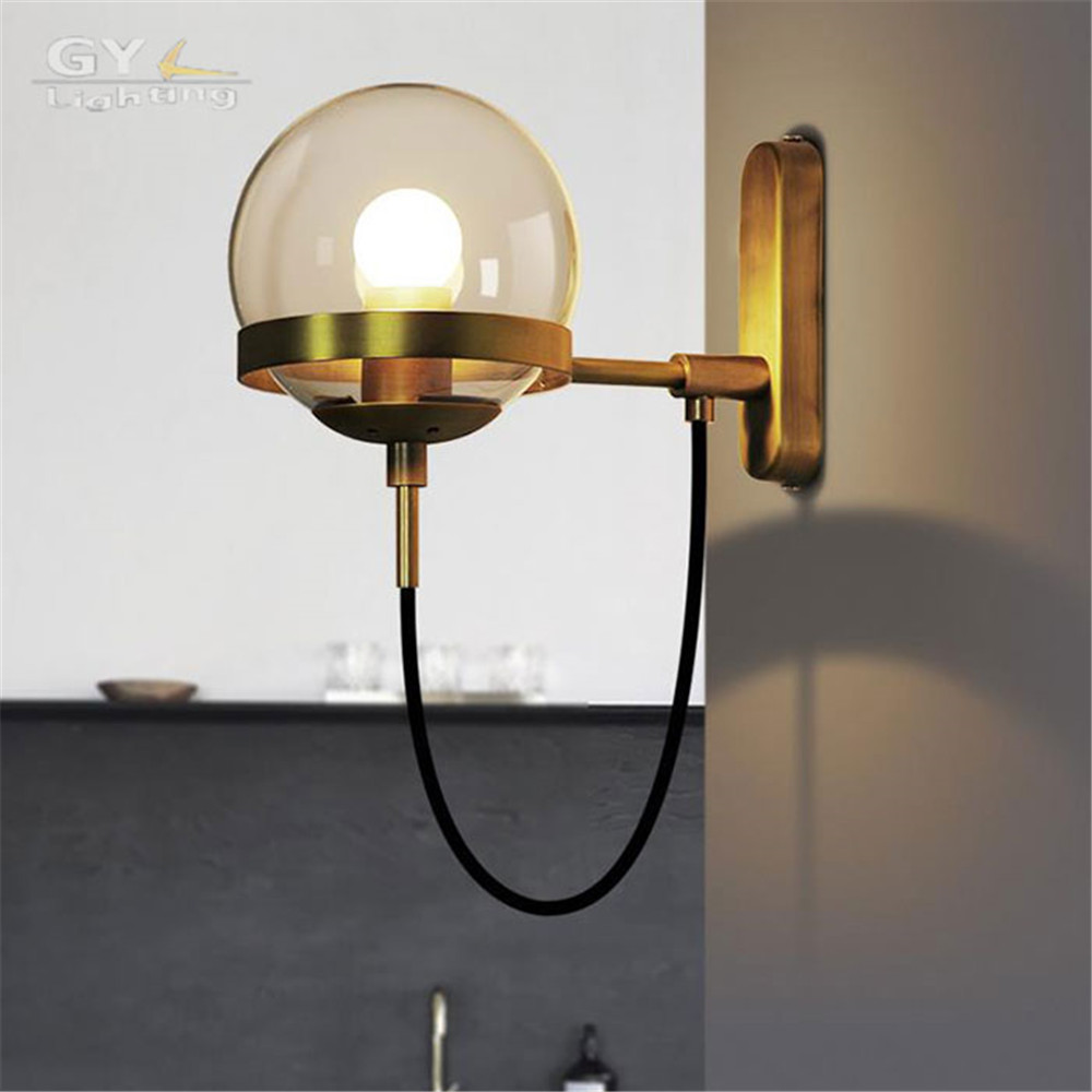 Designer lights hotel lobby Hall Modern wall light postmodern retro American style wall lamp glass ball bronze black wall sconce  modern fashion luxury hotel retro wall light led 3w 200lm ac100 240v firm hose 360mm flexible easy install comfortable light