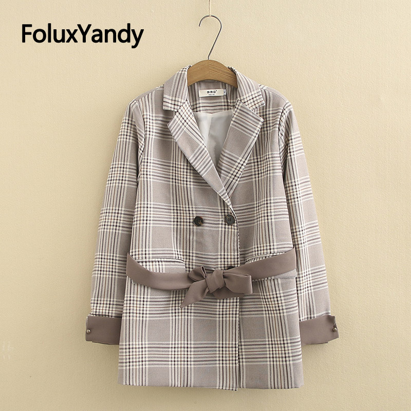 New Plaid Blazer Women Casual Coats Plus Size XXXL 4XL Loose Sashes Loose Double Breasted Long Sleeve Blazers Outerwear KKFY3613