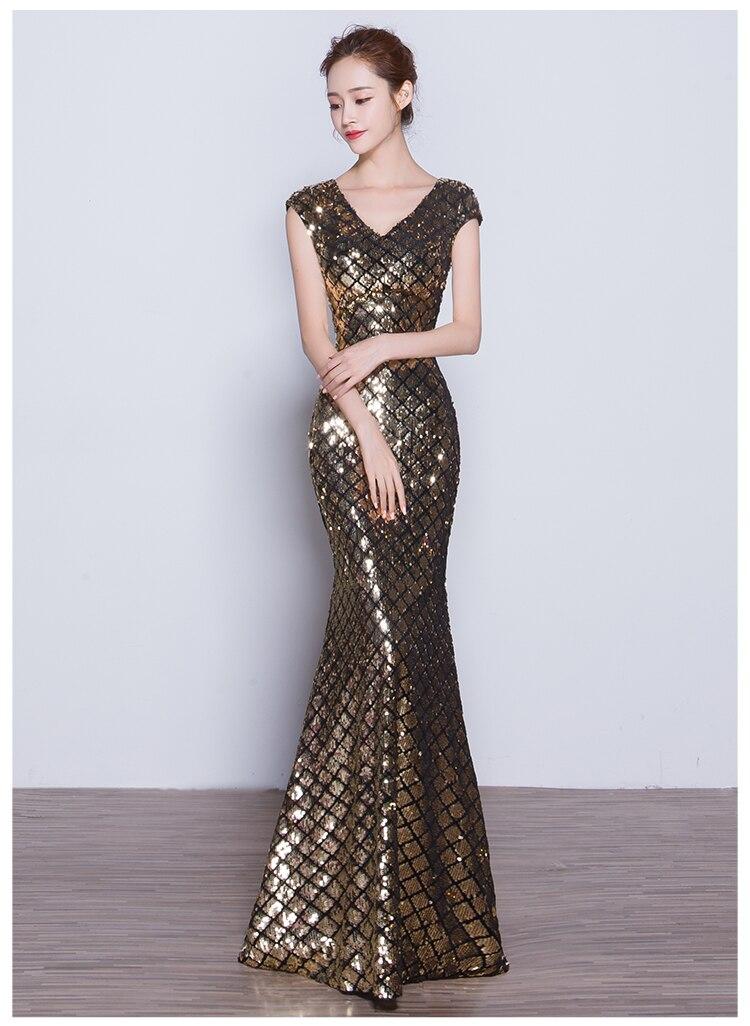 74f7b8c03 2017 Envío Libre de lentejuelas con cuello en V vestido de Fiesta de noche  formal dressesd robe de soirée vestido de festa longo vestidos de sueros  TK1507