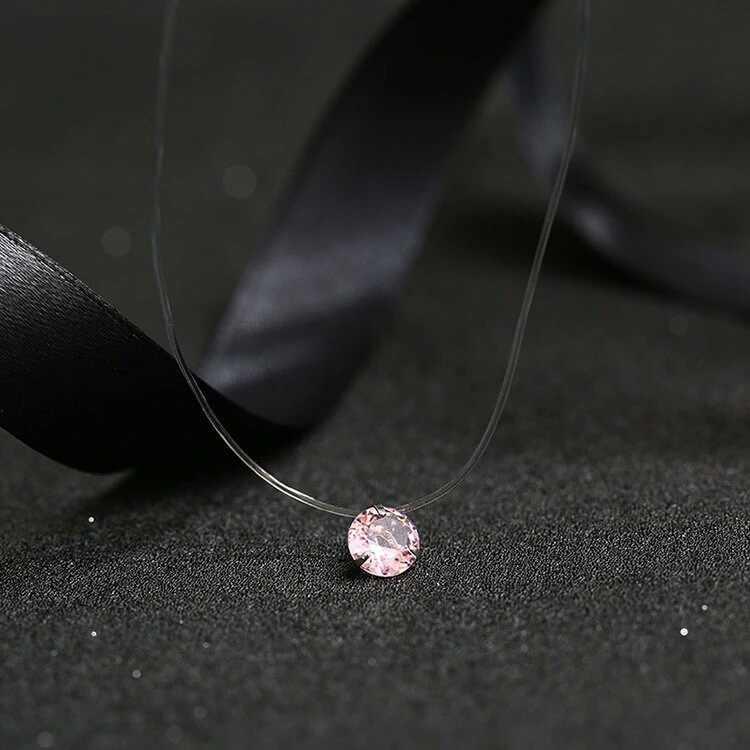 2019 feminino novo coração estrela colar de meteorito pingente transparente linha de pesca invisível zircão pingentes colar jóias