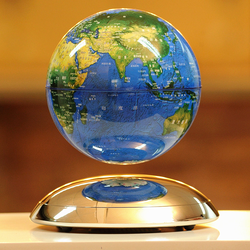 Magnetic rotation of the globe 6 inch 8 inch high-end office decoration creative arts and crafts gifts of English xinqite home furnishing ornaments product suspension globe round 3 inch 85mm blue english version of the spot