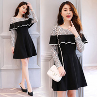 Slim Embellished Key Hole O-Neck A Line Mini Dress Women Long Sleeve Party Dresses in Black or Pink Plus Size l to 5xl