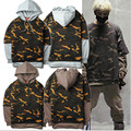 2016 off White EXO  GD Dragon Camouflage Hoodies Winter Army Military Tactical Jacket Youth Casual Cotton Sweatshirt Coat