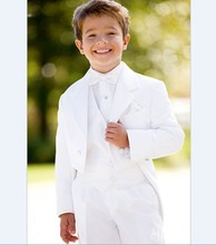 New Arrival Boy Tuxedos Notch Lapel Children Suit Black/White Kid Wedding/Prom Suits ( Jacket+Vest+Pants+Bow Tie +Shirt ) NH2