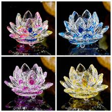 Lotus Crystal Glass Figure Paperweight Ornament Feng Shui Decor Collection Vintage Home gardening Decoration Gifts Accessories цена