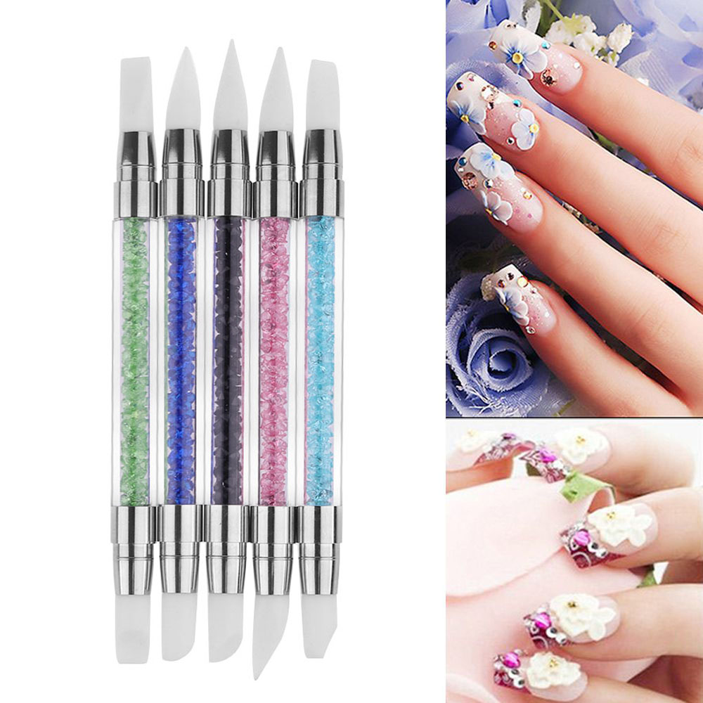 1 PC New Fashion Silicone Beauty Nail Art Sculpture Carving Craft Pen Nail Art Brush Dotting Women Beauty Nail Art Tools