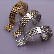 Plata curved end acero inoxidable correa correas correas de reloj de metal de oro de la mariposa broche de despliegue 16mm 18mm 20mm 22mm 24mm