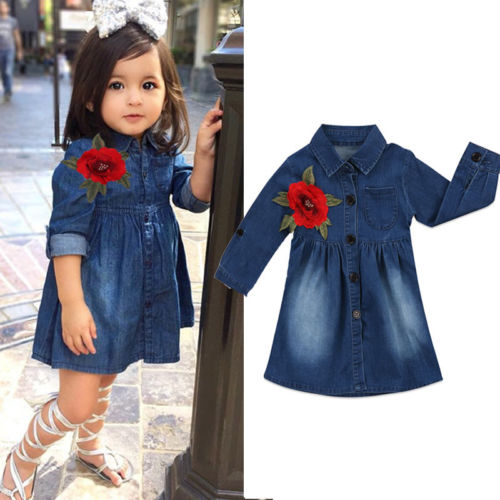 Toddler Infant Kids Baby Girls Summer Denim Dress Princess Party Tutu Dresses