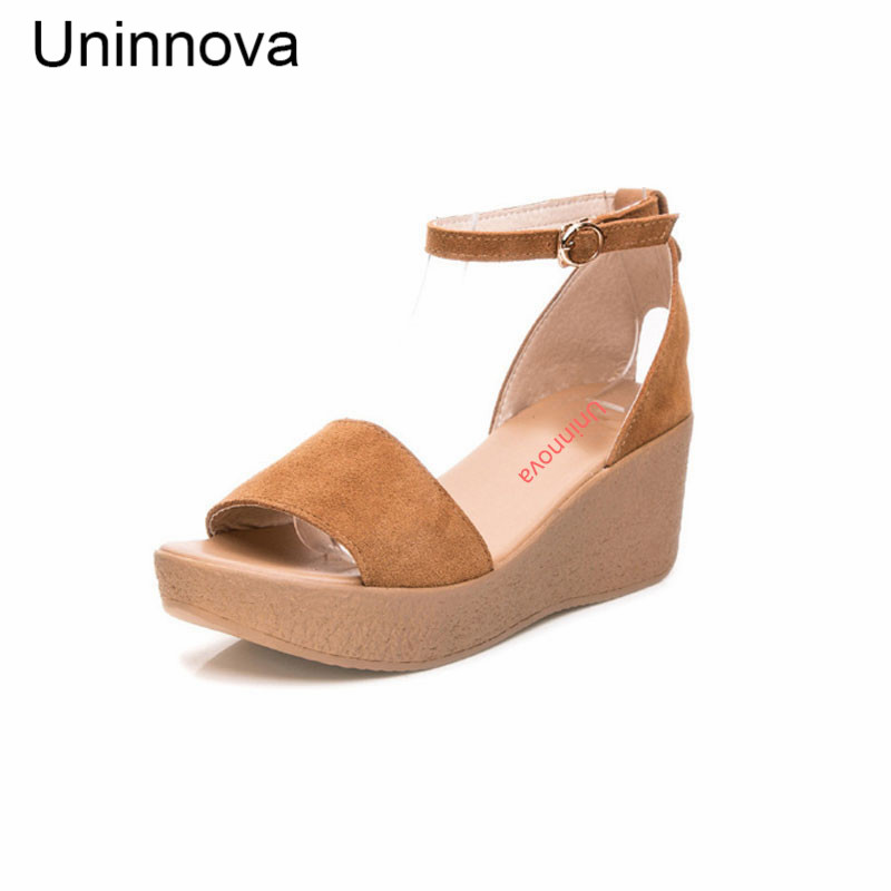 Platform Sandals Ankle Strap Wedge Heels Shoes High Heeled Sandals Uninnova Wine Black Extral Small Size